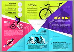 Mẫu in tờ rơi màu quảng cáo xe đạp đua, xe đạp địa hình ấn tượng. 4 mảng màu sắc rõ rệt được phân tách nhau bới các đường dẫn mắt nhìn đến trung tâm. Việc của bạn là chỉ cần thêm thương hiệu công ty