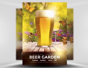 Mẫu tờ rơi quảng cáo nhà hàng bia tươi - Beer Garden