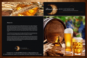 Những cốc bia tươi tuyệt vời chiết xuất từ các hạt lúa mạch mẩy nhất. Màu vàng của bia được nổi bật hơn nhờ màu đen của nền chữ.