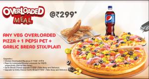 In tờ rơi quảng cáo giá rẻ - mẫu tờ rơi tiếp thị combo mới của nhà hàng Overloaded với Pizza + bánh mỳ nướng bơ tỏi + 1 chai Pepsi