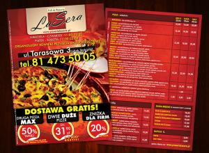 Mẫu tờ rơi quảng cáo pizza với màu sắc chủ đạo là đỏ và đen, vàng tạo nên sự nổi bật của mẫu tờ rơi