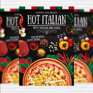 Mẫu in tờ rơi quảng cáo pizza Hot Italian