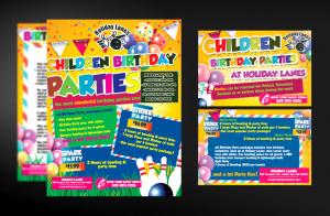 Mẫu tờ rơi đa sắc màu rực rờ quảng cáo dịch vụ tổ chức tiệc sinh nhật sôi động cho các em nhỏ.