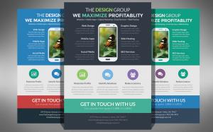 Mẫu in tờ rơi đa sắc màu quảng cáo app hay cho thiết bị di động với style thiết kế giao diện phẳng và tone màu panton đẹp mắt