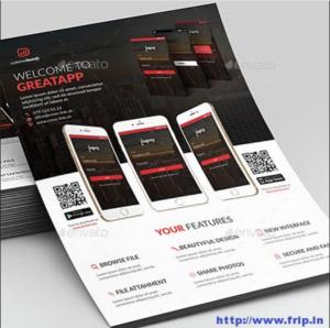 Mẫu tờ rơi quảng cáo GreatApp cho mobile với 3 màu chủ đạo là đen, đỏ, trắng vừa tương phản, vừa nhấn mạnh hình ảnh app trên mobile