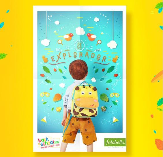 Mẫu tờ rơi quảng cáo đầu tiên cho bộ sưu tập balo học sinh lứa tuổi 5-8 tuổi. Có thể nhận thấy chiếc balo hươu cao cổ có màu vàng tươi sáng vô cùng nổi bật trên nền tờ rơi xanh da trời. Người mẫu nhí tạo dáng cũng hết sức đáng yêu