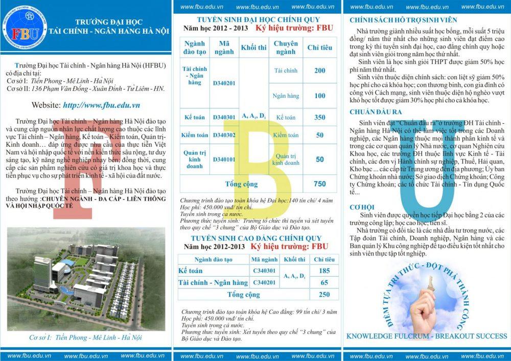 Mẫu in tờ rơi quảng cáo trường Đại học tài chính - ngân hàng Hà Nội