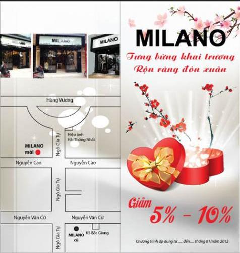 Mẫu tờ rơi khai trương shop bán túi xách Milano