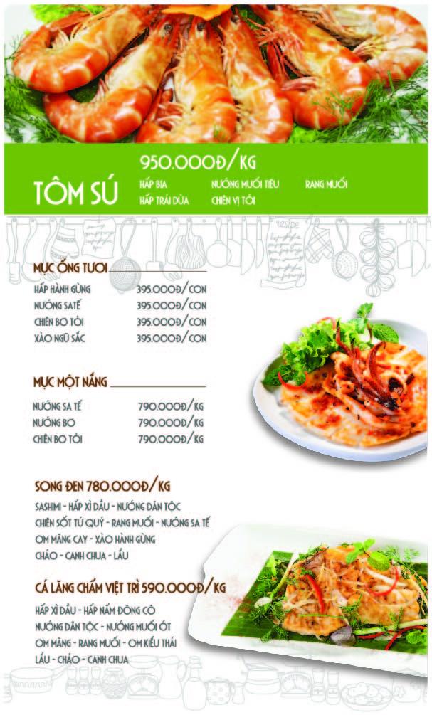 Thiết kế menu nhà hàng hải sản Lã Vọng