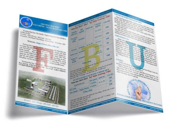 Mặt trước mẫu tờ rơi in giá rẻ tuyển sinh cho trường Đại học Tài chính - Ngân hàng Hà Nội