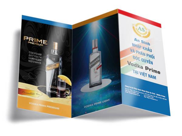 Mẫu in tờ rơi giá rẻ cho hãng rượu nhập khẩu An Sinh, quảng cáo loại rượu Vodka Prime