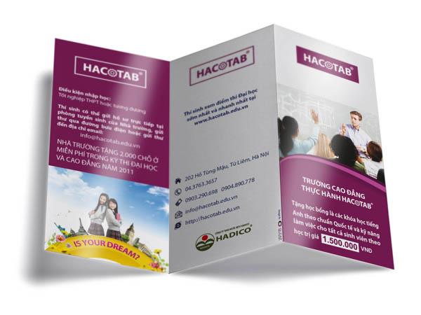 Mẫu in tờ rơi giá rẻ tuyển sinh cho trường Cao đẳng thực hành Hacotab