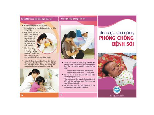 Mẫu in tờ rơi giá rẻ tuyên truyền phòng chống bệnh sởi của Sở Y tế Hà Nội