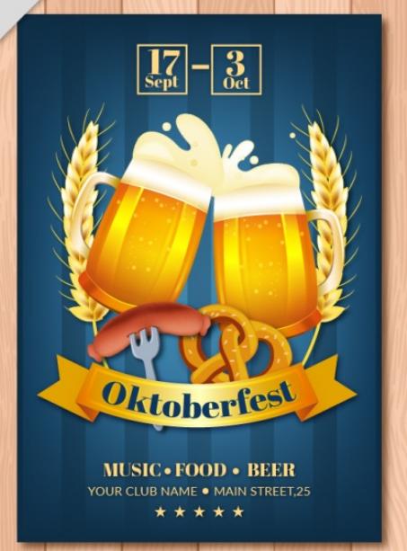 Âm nhac - đồ ăn ngon - bia tươi. Đây là mẫu tờ rơi quảng cáo bữa tiệc bia tại một câu lạc bộ đường phố.