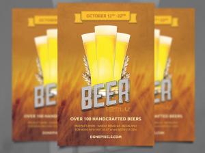 Mẫu thiết kế tờ rơi quảng cáo bia tươi trên nền cánh đồng lúa mạch