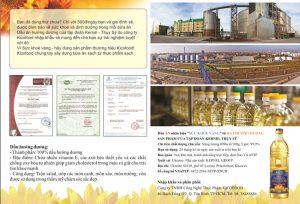 Mặt sau của mẫu tờ rơi quảng cáo dầu ăn Kico in hình ảnh sản phẩm, nhà máy sản xuất và các mẫu giấy tờ công chứng xác nhận chất lượng dầu ăn đạt tiêu chuẩn ISO, đảm bảo vệ sinh an toàn thực phẩm...