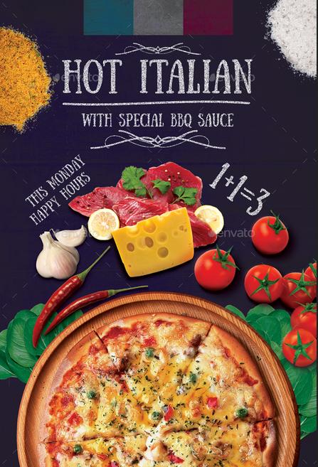 Dường như đây là bố cục được yêu thích của nhà hàng Pizza Hot Italian với một góc bánh pizza và hình ảnh các nguyên liệu được sắp đặt khá thẩm mỹ
