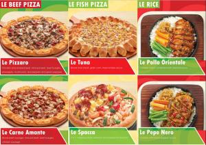 Mẫu tờ rơi quảng cáo pizza nhồi với các loại nhân khác nhau thật thơm ngon hấp dẫn. Ngoài ra còn có cơm cà ri cho những ai muốn đổi món