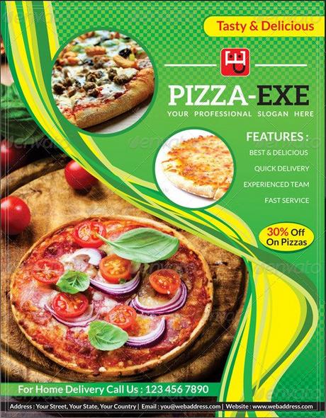 Nếu đa phần nhắc tới thiết kế tờ rơi quảng cáo Pizza mọi người sẽ nghĩ tới sử dụng màu đỏ và đen, vàng cho thiết kế thì mẫu tờ rơi này đã làm nên sự khác biệt. Một sự khác biệt thành công