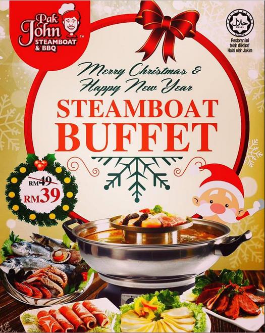 Khuyến mại tiệc Buffet lẩu cực ngon dịp Giáng sinh và năm mới. Mẫu tờ rơi quảng cáo được thiết kế kết hợp cả hình ảnh món ăn và hoạt hình ngộ nghĩnh của ông già Noel