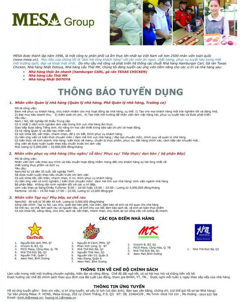 Mẫu tờ rơi tuyển dụng của MESA Group - Tân Nhật Minh chuyên in tờ rơi giá rẻ tại Hà Nội
